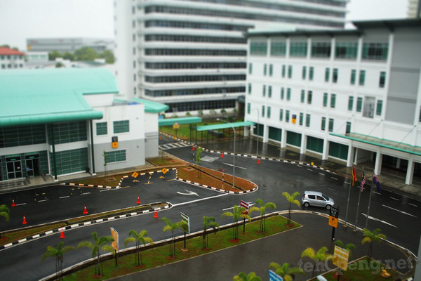 Tilt-shift effect applied on a shot of Swinburnes Kuching campus
